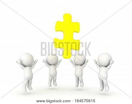 Group of 3D Characters looking up to golden jigsaw puzzle piece. Image could depict the concept of having a epiphany or revelation.
