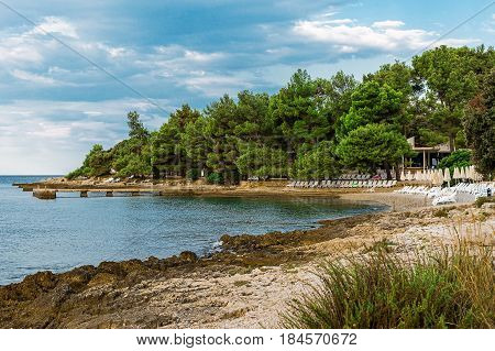 View on Adriatic sea bay with pines in Istria. Croatia. Beautiful empty beach with loungers and umbrellas