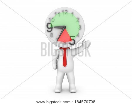 3D Character wearing a tie with a clock for head. The clock is showing overtime hours.