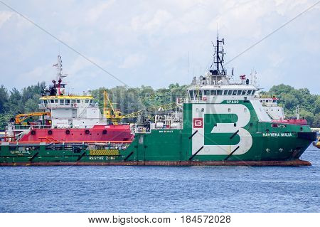 Labuan,Malaysia-June 17,2016:Multi function offshore support/platform supply vessels at Labuan island,Malaysia.The vessels,will provide support fleet of seismic vessels during operation,covering offshore bunkering,crew change assistance,supply of provisio