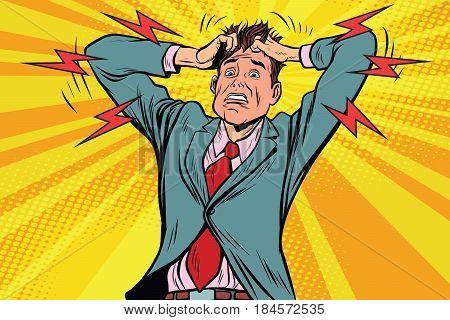 businessman panic head hand, illness and medicine. Pop art retro vector illustration