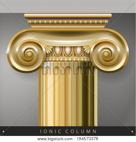 Golden Capital of the Corinthian column in the Baroque style. Classical architectural support. Vector graphics