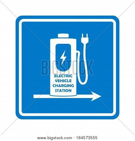 Charging station road sign template. Direction to charging station for electric car or vehicle. Vector illustration.
