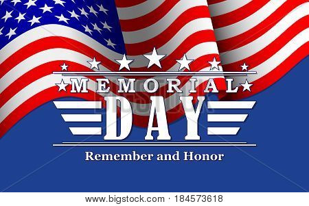 Memorial Day background with stars USA flag and lettering. Template for Memorial Day. Vector illustration.