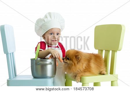 Role-playing game. Kid boy playing chef with dog. Child weared cook feeds Spitz puppy.