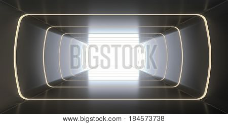 A long tunnel stretching off into the distance and ending light. 3d rendering