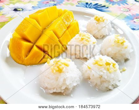 Thai style tropical dessert sticky rice eat with mangoes