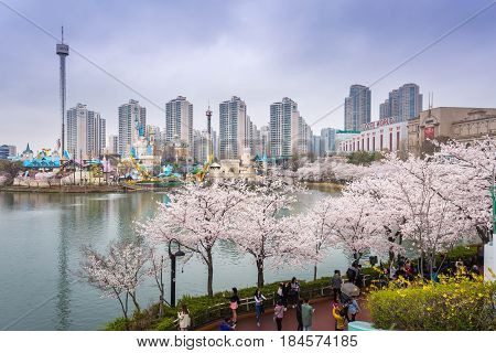 Seoul, Korea - April 5, 2015: Lotte World, Amusement Park In Spring At Seoul South Korea On April 5,