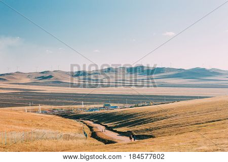 20150924_inner Mongolia, China, Visitor Hiking To See  Hulun Buir River Genhe Wetland In Eergu'na. W