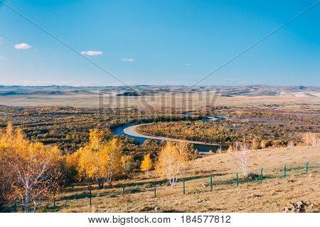 On A Moutain Of Inner Mongolia Hulun Buir River Genhe Wetland In Eergu'na,known As