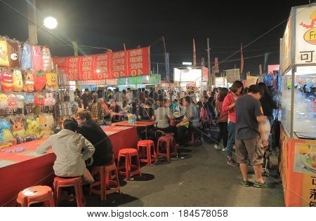TAINAN TAIWAN - DECEMBER 11, 2016: Tainan flower night market. Tainan flower night market is the biggest night market in Tainan.