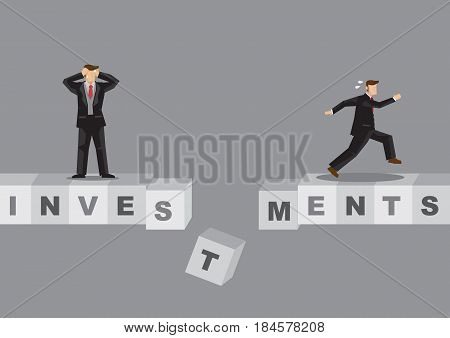 Cartoon businessmen standing on bridge made of alphabet blocks spelled Investments. Creative vector illustration on risk investments metaphor.