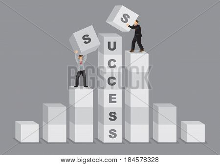 Cartoon businessman in advantageous higher position has upper hand to complete the word Success. Creative vector illustration on concept for comparative advantage in business to success.