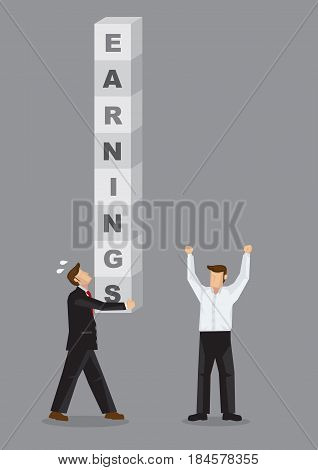 Business professional carries letter blocks that form text Earnings. Creative vector illustration for financial concept on business that delivers earnings to shareholders.