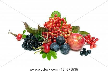 Ripe berries and fruits on a white background. Horizontal photo.