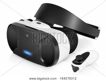 VR virtual reality headset half turned with game controller isolated on white background. VR is an immersive experience in which your head movements are tracked in 3d world VR is the future of gaming.