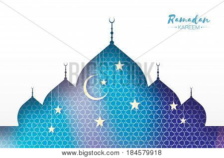 Ramadan Kareem. Arabic window Mosque, white stars in paper cut style. Arabesque pattern. Crescent Moon. Holy month of muslim. Symbol of Islam. Origami Greeting card. Blue background. Vector