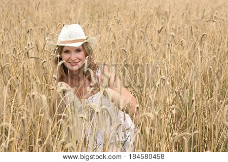 Woman in Yellow Wheat Field, Young Country Girl Outdoor Portrait