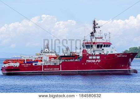 Labuan,Malaysia-June 17,2016:Offshore support ship THOR FREYJA (IMO:9679050,MMSI:311000273) in Labuan,Malaysia.Its a support vessel registered in The Bahamas & the vessel THOR FREYJA was built in 2015