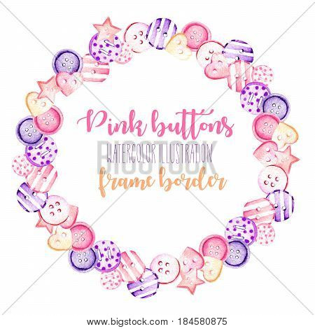 Wreath, circle frame with watercolor pink and purple buttons, hand drawn isolated on a white background, postcard template