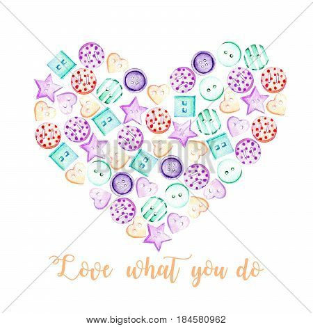 Heart illustration with watercolor colored buttons, hand drawn isolated on a white background