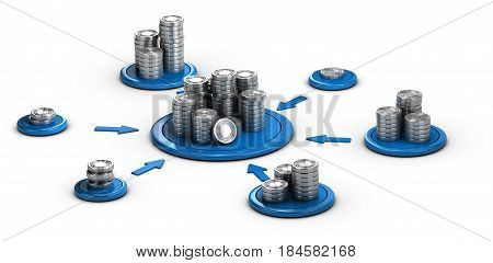 Stacks of generic coins over white background with blue arrows pointing the highest pile. Conceptual 3D illustration for money investment or collaborative finance.