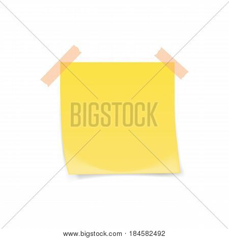 Yellow sticky note with adhesive tape isolated on white background. Vector illustration.