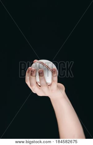 Partial View Of Kid Holding Baseball Ball Isolated On Black