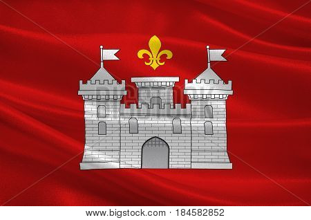 Flag of Perigueux is a commune in the Dordogne department in Nouvelle-Aquitaine in southwestern France. 3D illustration