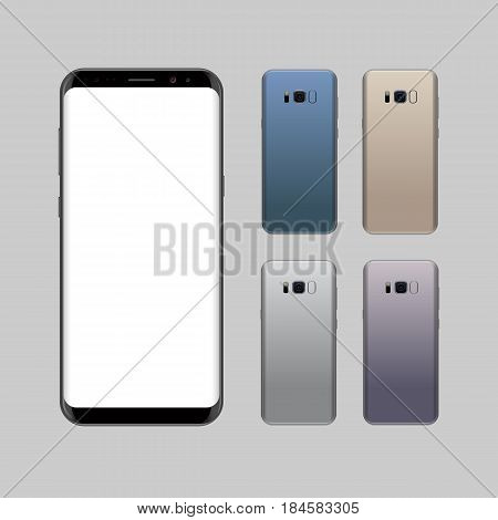 Smartphone Design Concept With Different Colors. Realistic Vector Illustration. Black Smart Phone Fr