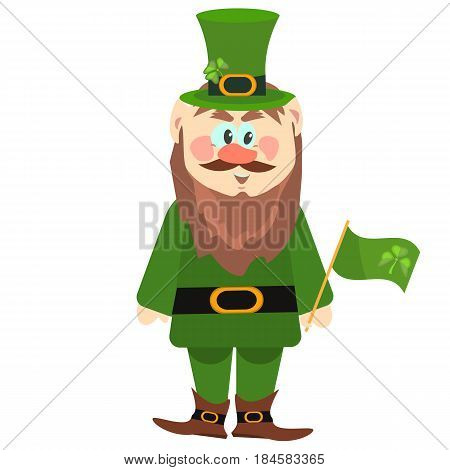 Leprechaun presenting holiday little green man vector character illustration. St patrick leprechaun ireland elf cartoon character. Irish cute cheerful luck man with green clover flag.