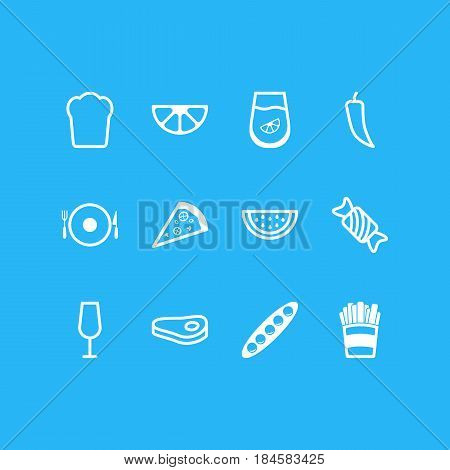 Vector Illustration Of 12 Cooking Icons. Editable Pack Of Sirloin, Goblet, Serving And Other Elements.