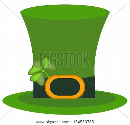 Green material leprechaun hat with brown leather band emblazoned gold shamrock and buckle vector illustration. Patrick ireland green hat celebration clover luck traditional gold coin festive cap.