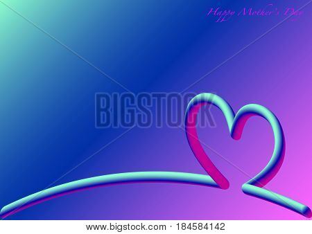 Heart Skyline , Happy Mother's Day , 3D fluorescent
