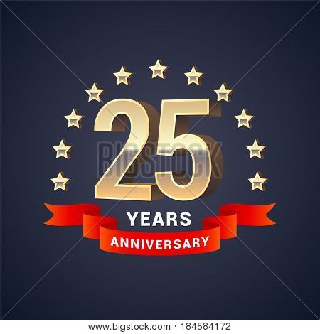 25 years anniversary vector icon logo. Graphic design element with golden 3D numbers for 25th anniversary decoration