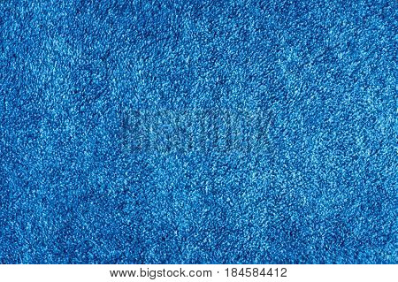 View Of Texture Background Of Blue Fleece Fabric.