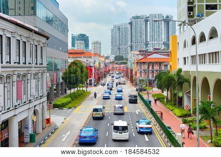 Road Traffic In Singapore Chinatown