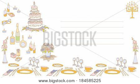wedding invitation card sketch food drinks cake flowers menorah candles and gifts