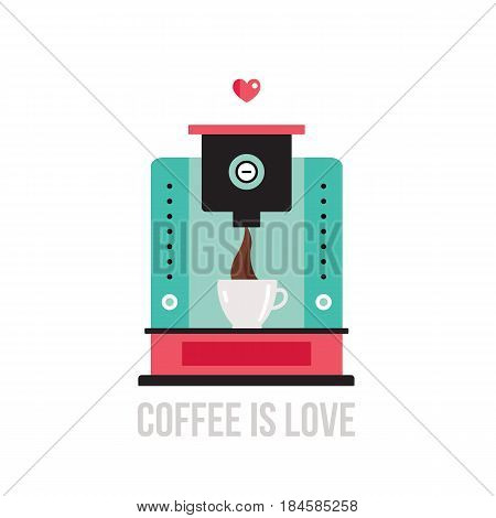Cute colorful coffee maker on white background Vector illustration