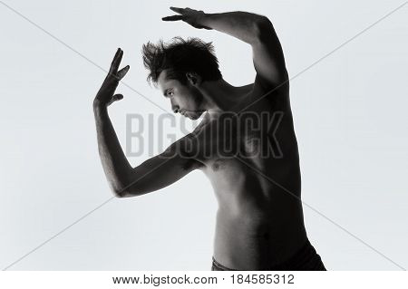 Young Naked Man Dancin  On White Background