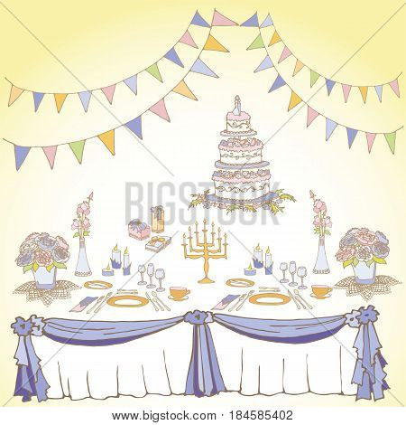 set of painted items for the table in celebration tablecloth gifts food cutleryflowers boxes cake for a wedding or birthday flowers boxes cake for a wedding or birthday colored bright