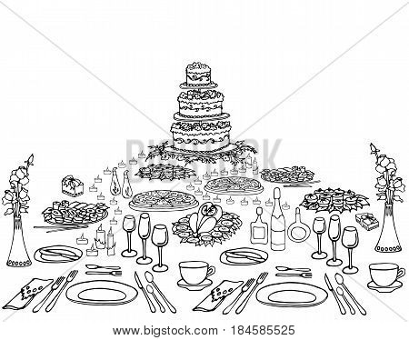 a set of sketch invitation for an anniversary a birthday a menu on the holiday table serving cake cloth food drinks candles form of a pyramid black and white