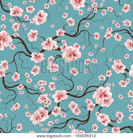 Vintage Floral Seamless Pattern With Branch And Spring Flowers
