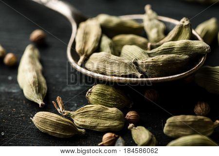 Cardamon Dry Seeds In A Metal Spoon Closeup Macro Shot
