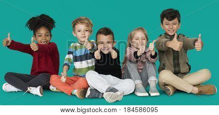 Little Children Friends Thumbs Up