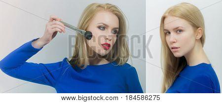Makeup Compare. Comparison Portrait Of A Girl