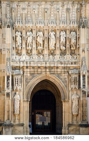 Gloucester United Kingdom - June 8 2013: Entrance to Gloucester Cathedral Church of St Peter and the Holy and Indivisible Trinity
