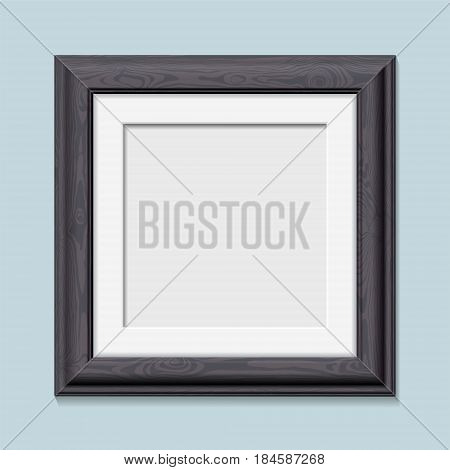 Square wooden black photo frame realistic vector illustration