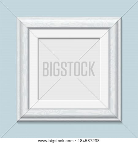 Square Wooden White Photo Frame, Vector
