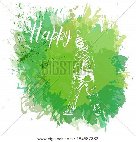 Paint spot with splash in watercolor style. Graffiti guy makes street art on wall. Vector illustration. Background for flayer, web banner, print.